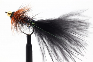 Black & orange Woolly Bugger